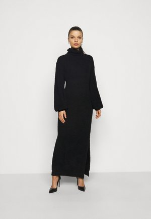 FLUFFY SLOUCHY SIDE SPLIT JUMPER DRESS - Trui - black