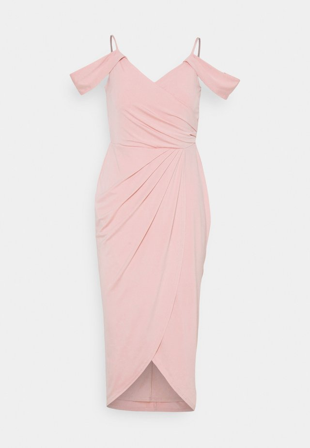 OFF SHOULDER PLEAT GOWN - Vestido de fiesta - dusty pink
