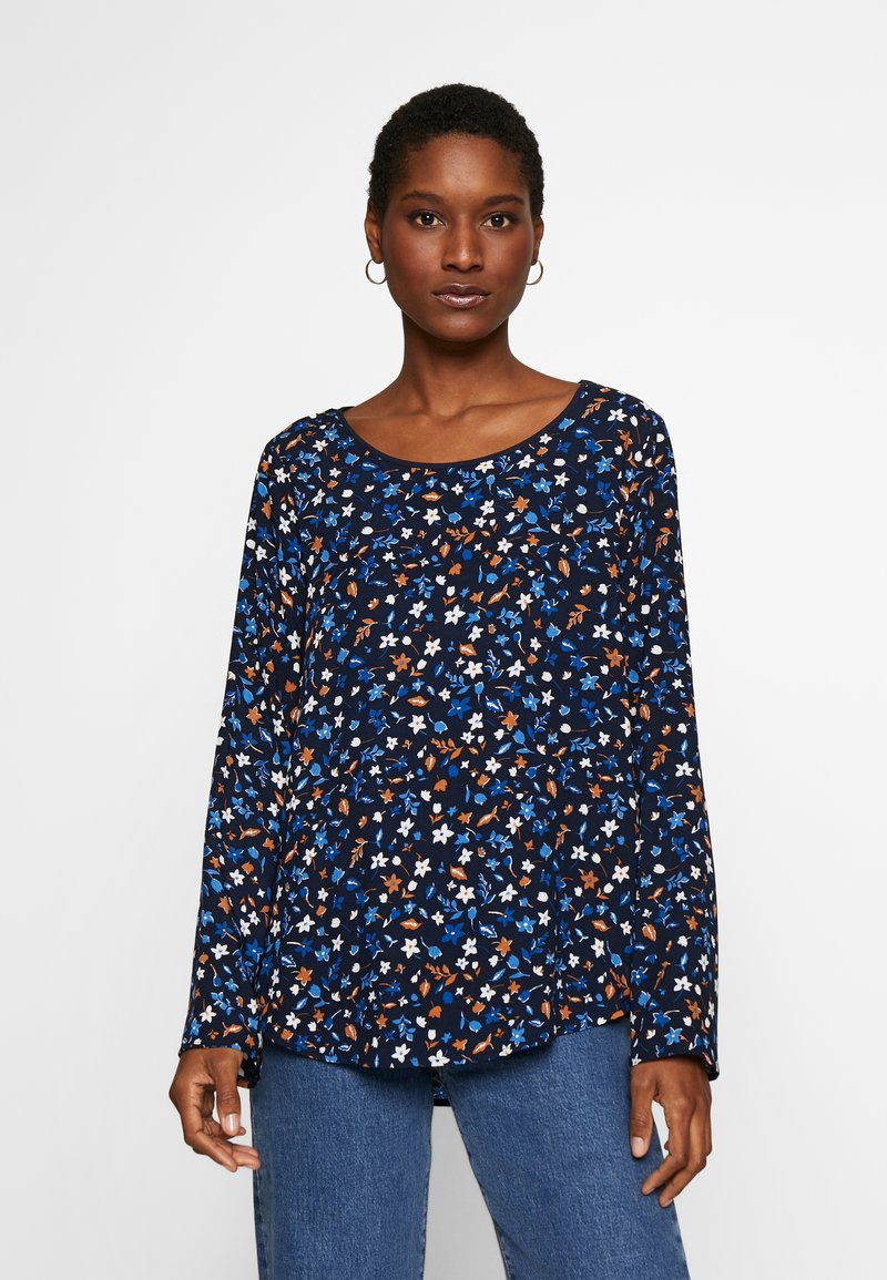 Marc O'Polo - CREW NECK LONG SLEEVED SPECIAL SIDE SEAM PRINTED - Blusa - multi/night sky