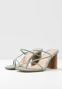 NA-KD - FINE STRAPPY BLOCK HEEL  - T-bar sandals - pastel green - 4