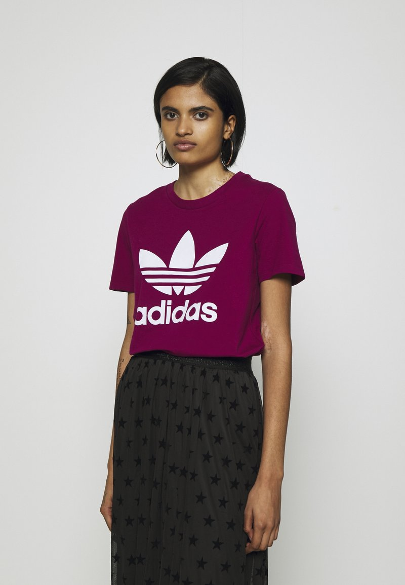 adidas Originals - TREFOIL TEE - T-shirt con stampa - power berry/white