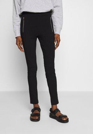 STRAIGHT ZIP BENGALINE SKINNY TROUSER - Spodnie materiałowe - black