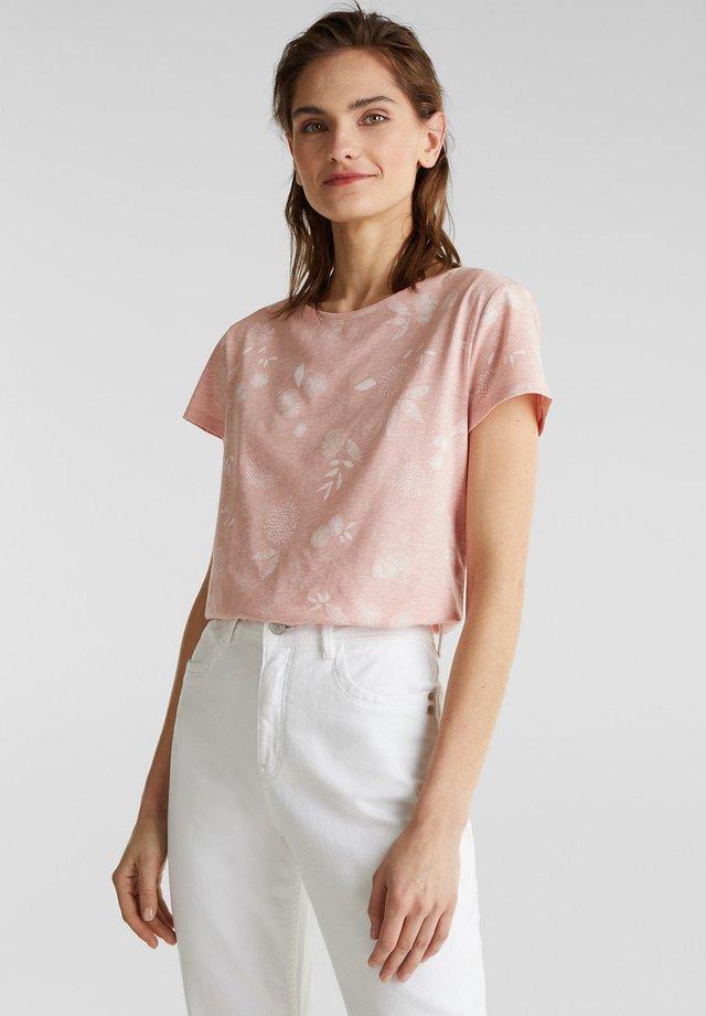 MELIERTES PRINT-SHIRT MIT BIO-BAUMWOLLE - T-shirt med print - peach