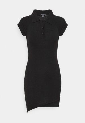 POLO COLLAR T-SHIRT DRESS - Vestito di maglina - black