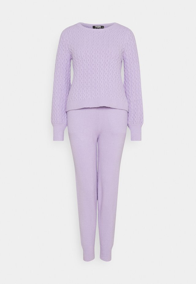 TEXTURED JUMPER AND JOGGER SET - Sweter - lilac
