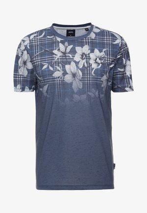 CHECK FLORAL FADE - T-shirt med print - navy