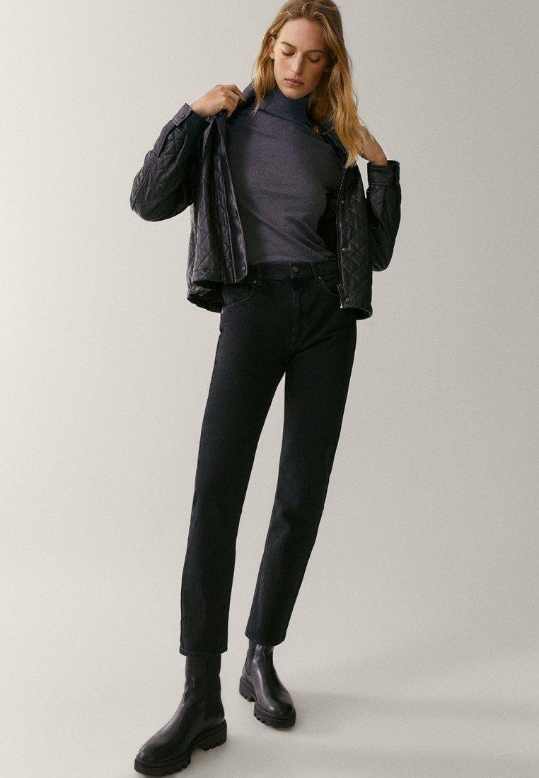 Massimo Dutti - MIT HOHEM BUND  - Jean slim - black