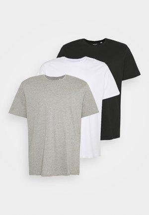 JORBASIC TEE CREW NECK 3 PACK  - T-shirt basic - white/ light grey/melange black