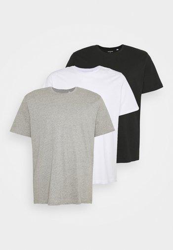 JORBASIC TEE CREW NECK 3 PACK  - T-shirt - bas - white/ light grey/melange black