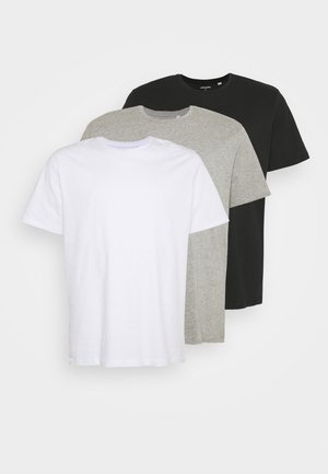 JORBASIC TEE CREW NECK 3 PACK  - T-shirt basic - white/ light grey/melange black