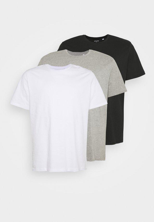 JORBASIC TEE CREW NECK 3 PACK  - Jednoduché triko - white/ light grey/melange black