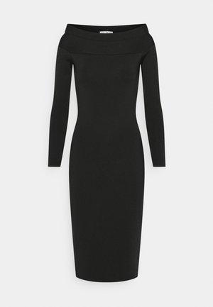 COMPACT SHINE BARDOT FITTED DRESS - Pouzdrové šaty - black