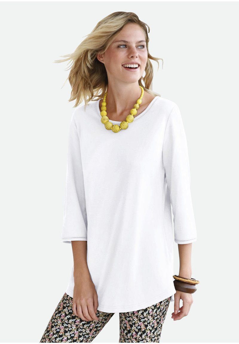 Green Cotton - T-shirt à manches longues - white