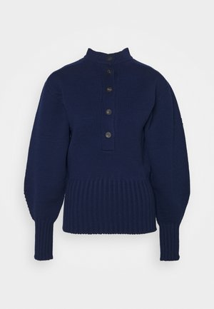 SEAMLESS BUTTON BACK JUMPER - Maglione - navy