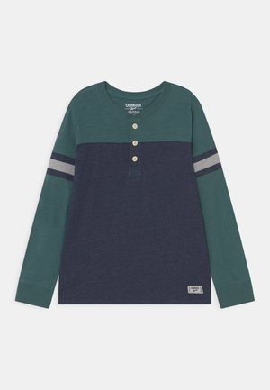 COLORBLOCK HENLEY - Long sleeved top - blue