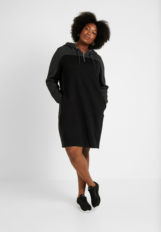 LADIES TONE HOODED DRESS - Day dress - black/charcoal