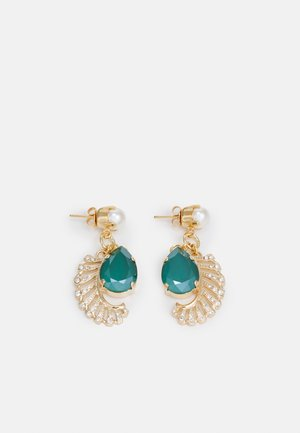 PEARL POST WITH PAVE FEATHER DROP - Pendientes - green