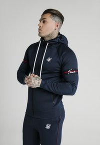 SIKSILK - EXPOSED TAPE ZIP THROUGH HOODIE - Zip-up hoodie - navy - 0