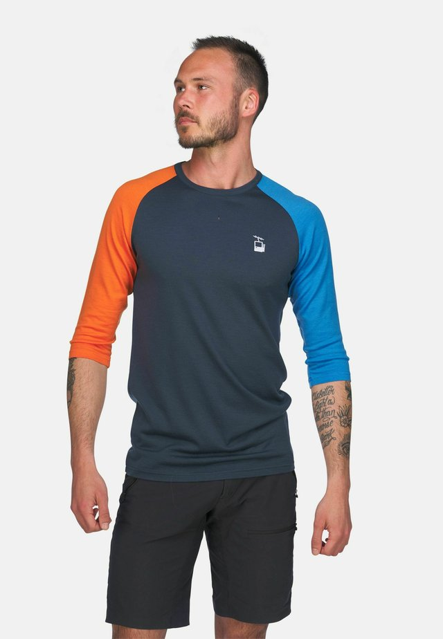 Topper langermet - mørkeblå/lyseblå og oransje
