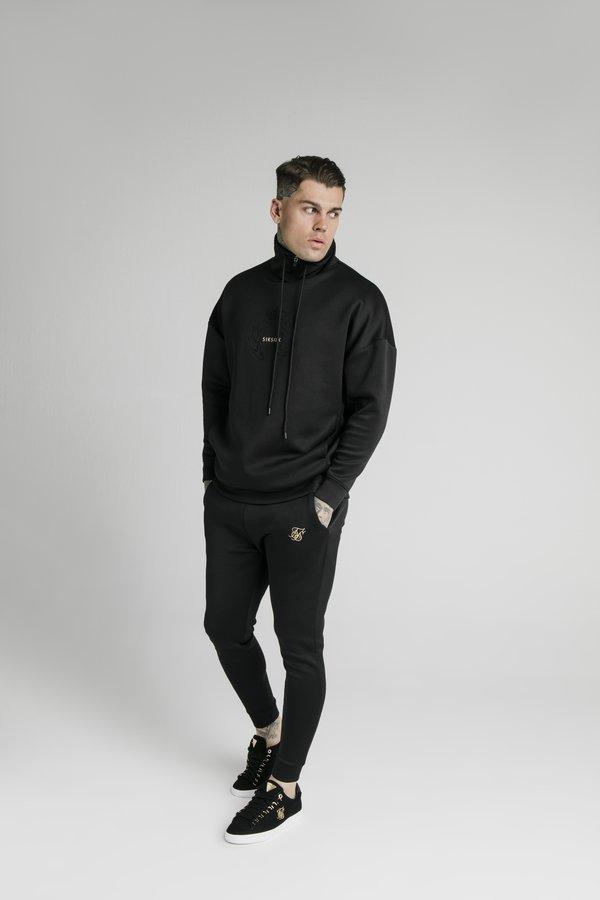 SIKSILK ELEMENT QUARTER ZIP HOODIE - Bluza - black/gold/czarny Odzież Męska UHGJ