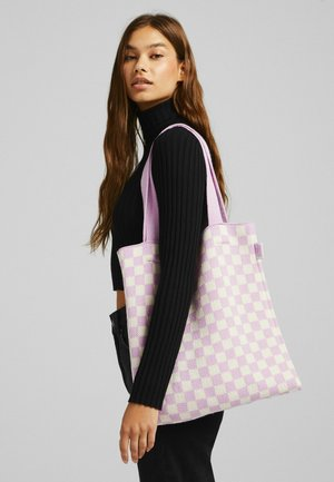 MIT SCHACHBRETTMUSTER  - Tote bag - mauve