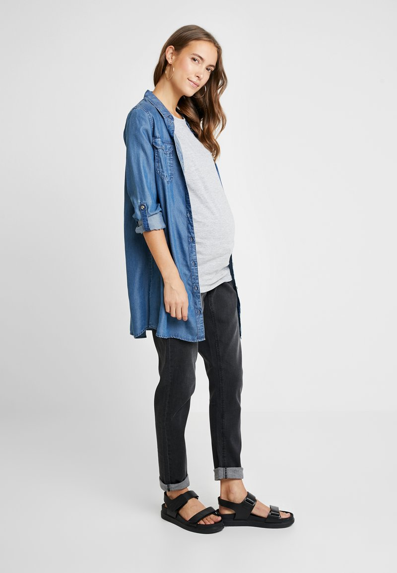 New Look Maternity - SHORT SLEEVE 2 PACK - T-shirts basic - navy/light grey marl