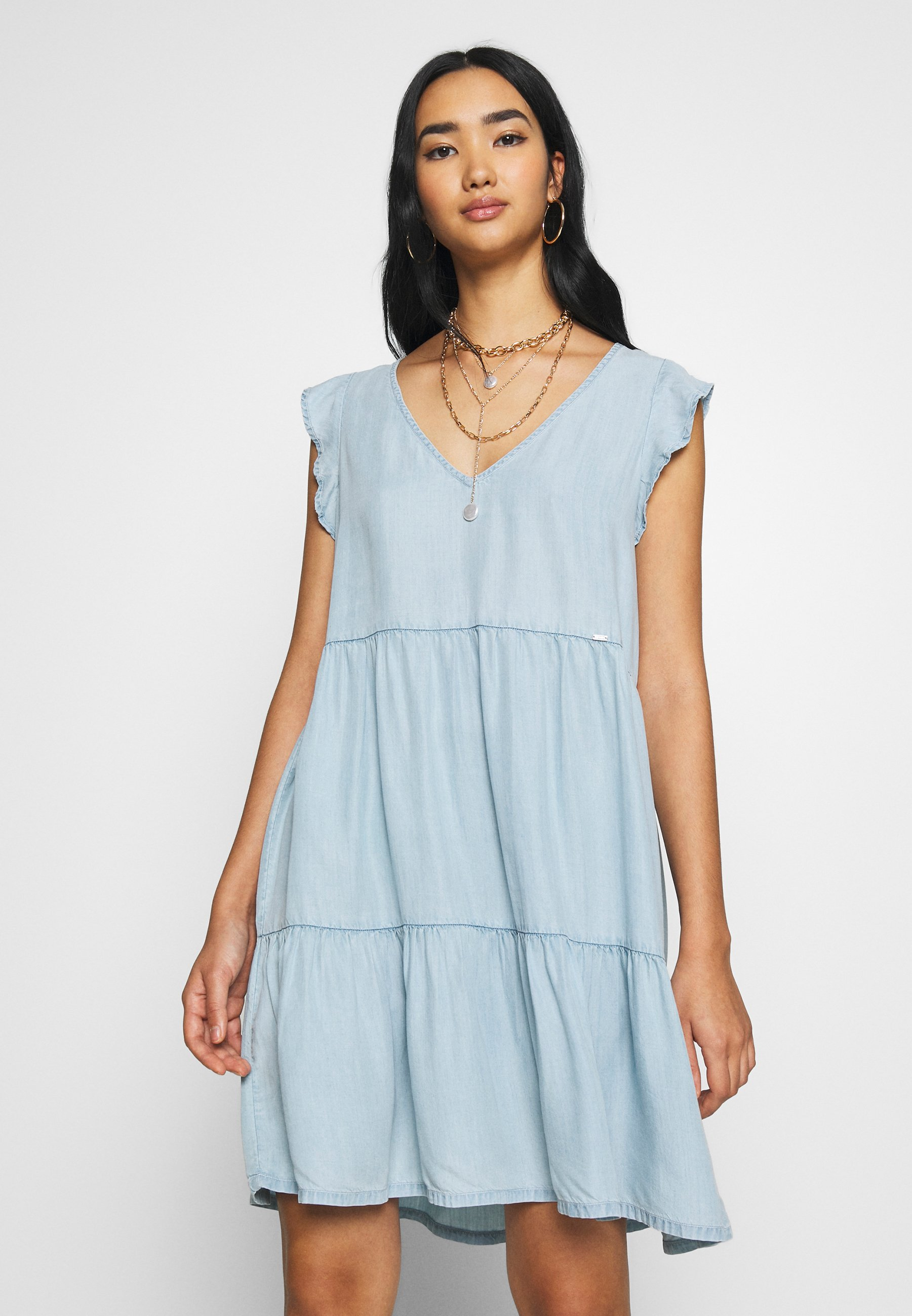 Women TINSLEY TIERED DRESS - Denim dress
