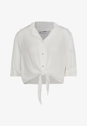 NMALBERTE CROPPED TIE - Button-down blouse - bright white