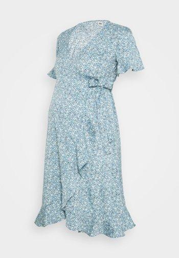 OLMOLIVIA WRAP DRESS - Jerseykjole - dusk blue
