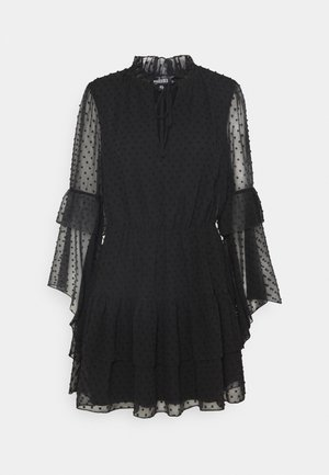 KEYHOLE FLUTTER SMOCK DRESS DOBBY - Cocktailjurk - black