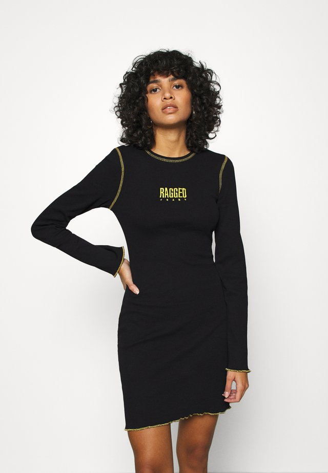 LETTUCE OVERLOCKED DRESS - Jumper dress - black