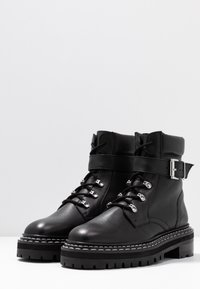 Even&Odd - LEATHER LACEUP BOOTIE - Botines camperos - black - 4