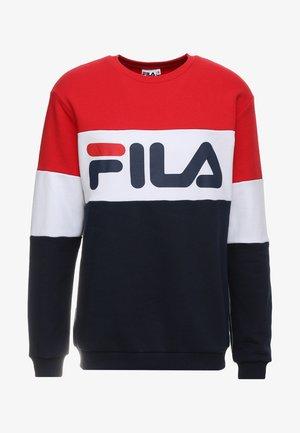 STRAIGHT BLOCKED CREW - Sweatshirt - black iris/bright white/true red