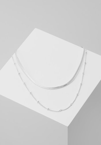 SATELLITE AND FLAT CURB CHAIN 2 PACK - Necklace - silver-coloured
