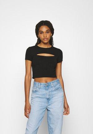 CUT OUT CROPPED - Print T-shirt - black