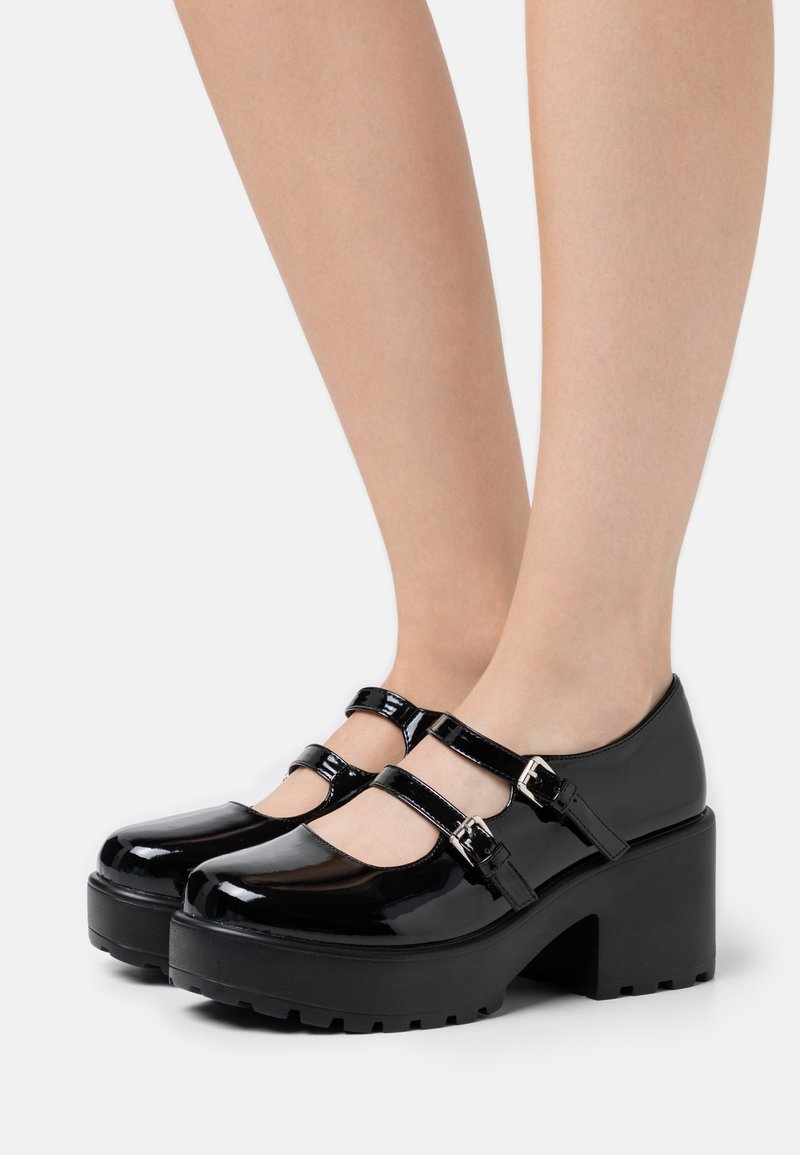 Koi Footwear - VEGAN MURA DOUBLE STRAP SHOES - Platform heels - black