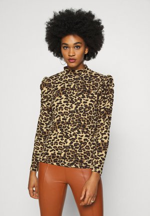 ONLELCOS ANIMAL HIGH NECK - Long sleeved top - camel