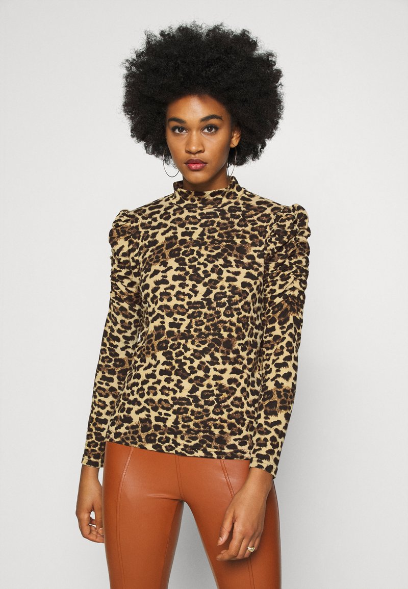 ONLY - ONLELCOS ANIMAL HIGH NECK - Long sleeved top - camel