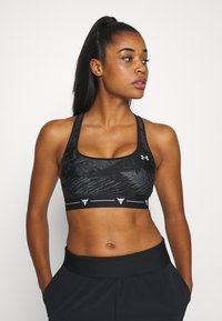 Under Armour - PROJECT ROCK MID PRINTED CROSSBACK BRA - Sports-BH - black/summit white - 0