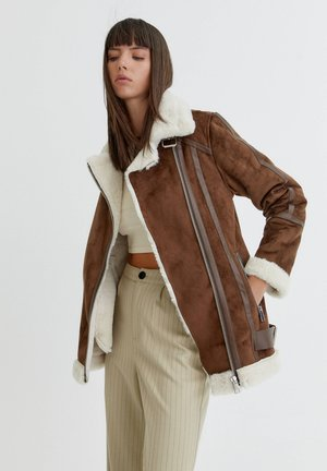 Imitatieleren jas - mottled light brown
