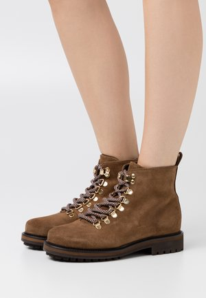 PSSANARA BOOT - Lace-up ankle boots - cognac