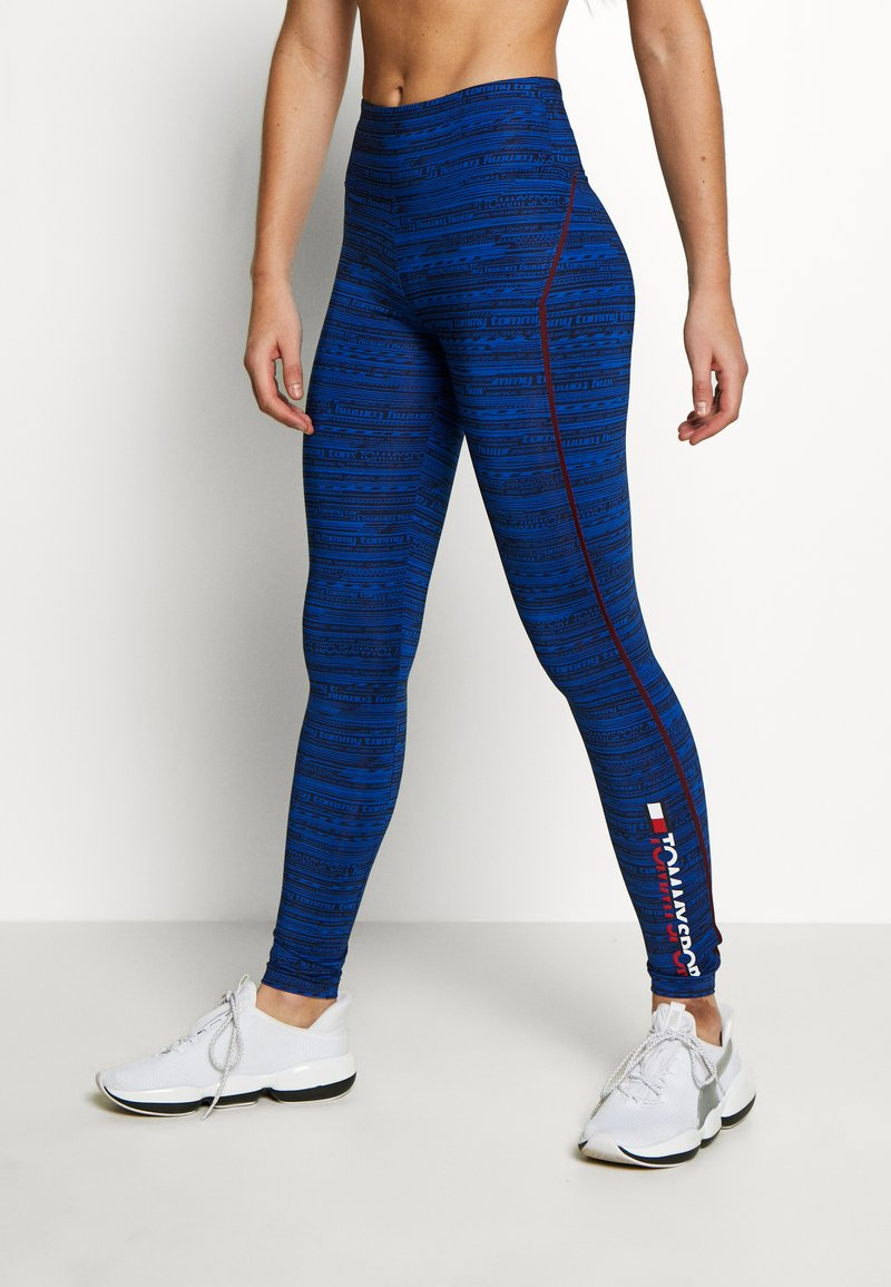 Tommy Sport - HIGH SUPPORT PRINTED LEGGING - Leggings - blue