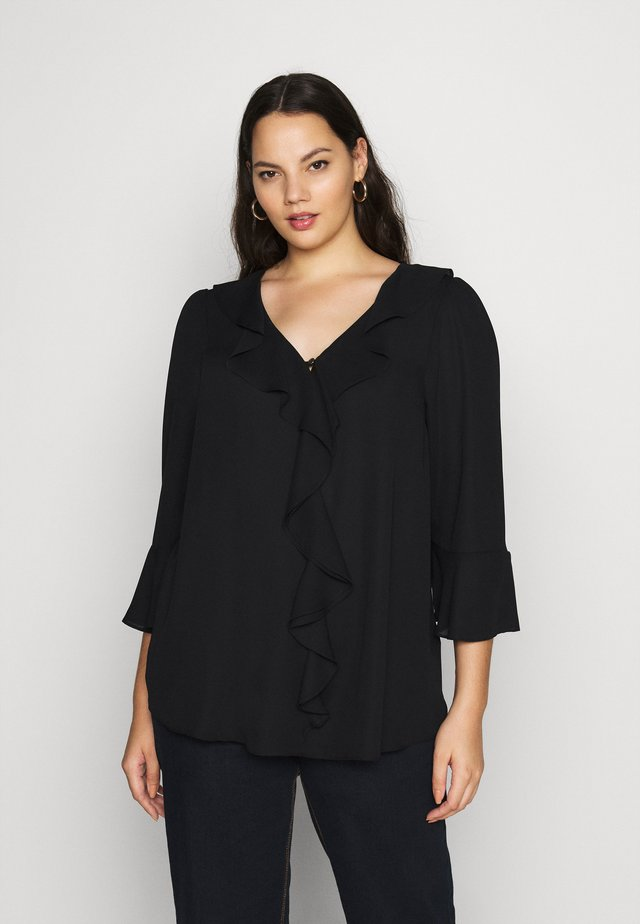 FRILL FRONT - Blouse - black