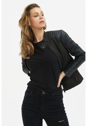 LAUREL - Leather jacket - black
