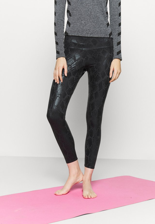 FOIL MIDI - Leggings - black