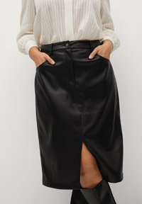 Violeta by Mango - Leather skirt - black - 3