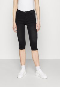 Vero Moda - VMSEVEN BUTTON FLY KNICKERS - Denim shorts - black - 0