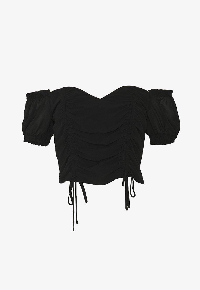 NA-KD - DRAWSTRING DETAIL OFF SHOULDER - Blusa - black