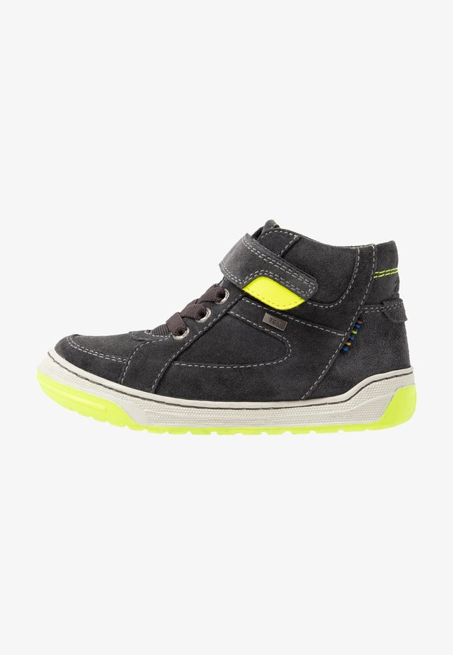 BARNEY-TEX - Sneakers hoog - charcoal/neon yellow