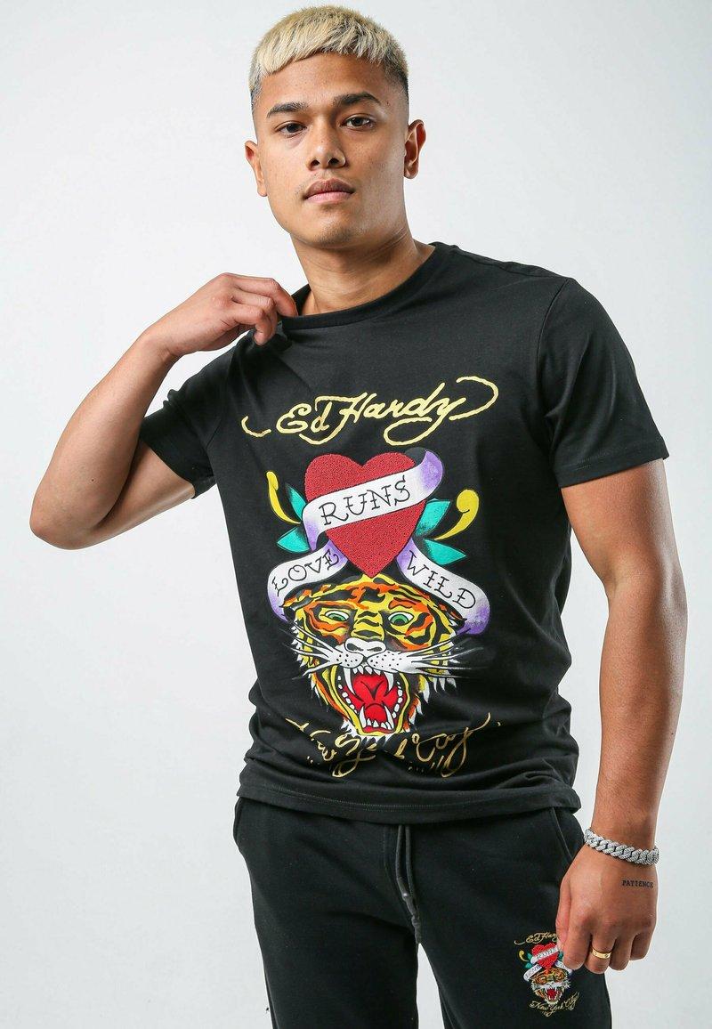 Ed Hardy - WILD-LOVE T-SHIRT - Print T-shirt - black